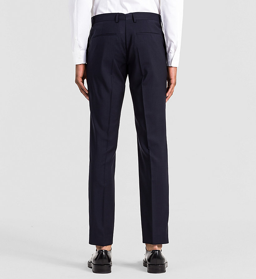 CALVINKLEIN Fitted Refined Wool Trousers - INDIGO - CALVIN KLEIN SUITS - detail image 1