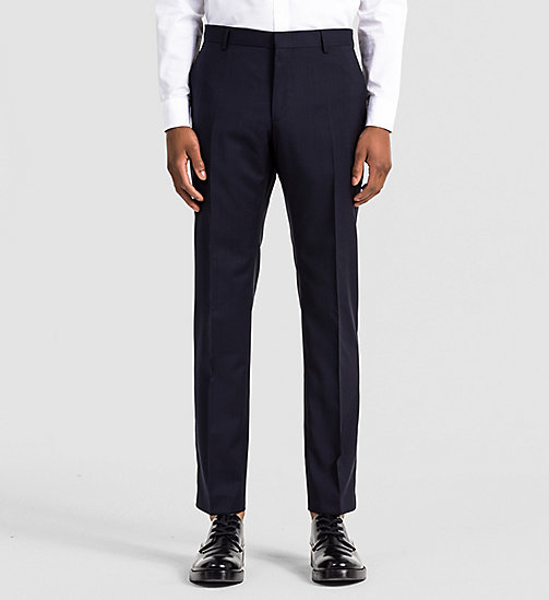 CALVINKLEIN Fitted Refined Wool Trousers - TRUE NAVY - CALVIN KLEIN TROUSERS - main image
