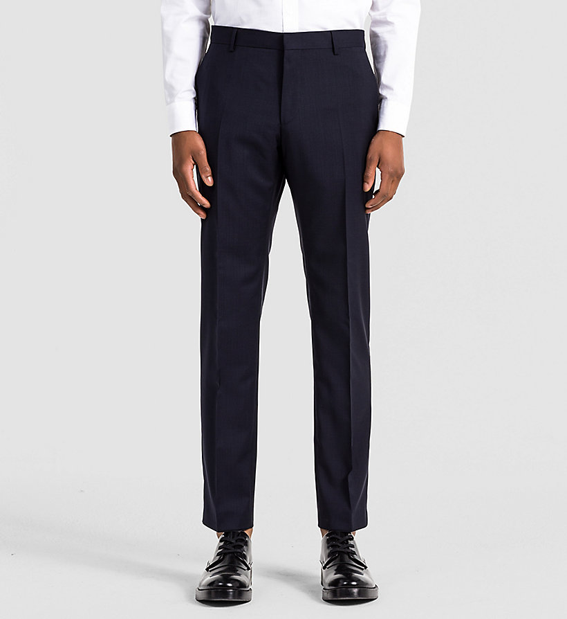 CALVINKLEIN Fitted Refined Wool Trousers - INDIGO - CALVIN KLEIN SUITS - main image