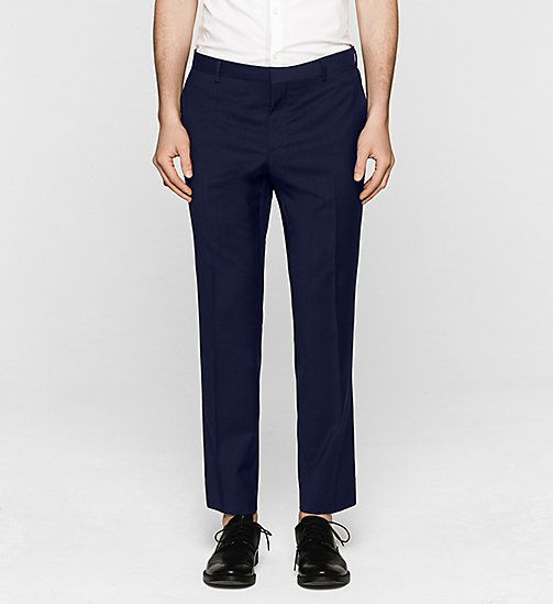 Fitted Refined Wool Trousers - INDIGO - CALVIN KLEIN SUITS - main image