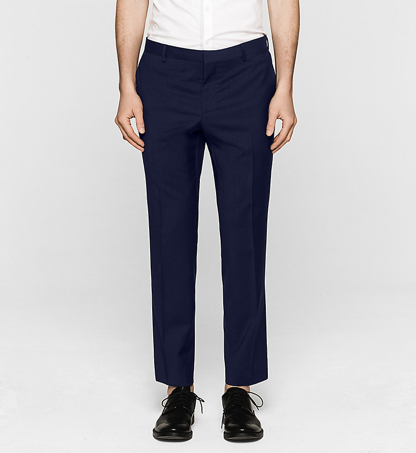 CALVINKLEIN Fitted Refined Wool Trousers - PERFECT BLACK - CALVIN KLEIN SUITS - main image