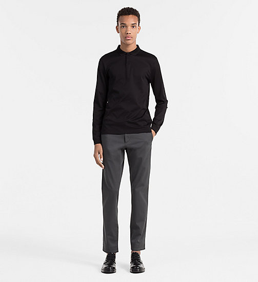 CALVINKLEIN Fitted Longsleeve Polo - PERFECT BLACK - CALVIN KLEIN  - detail image 1