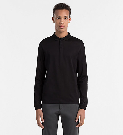 CALVINKLEIN Fitted longsleeve polo - PERFECT BLACK - CALVIN KLEIN POLO'S - main image