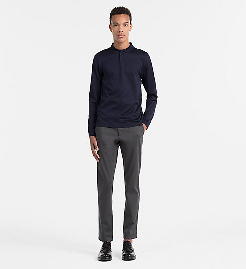 CALVINKLEIN Fitted longsleeve polo - TRUE NAVY-PT - CALVIN KLEIN POLO'S - detail image 1