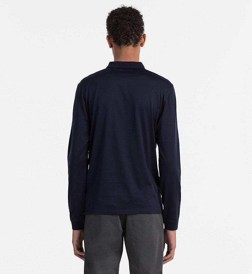 CALVINKLEIN Fitted Longsleeve Polo - TRUE NAVY-PT - CALVIN KLEIN POLO SHIRTS - detail image 2