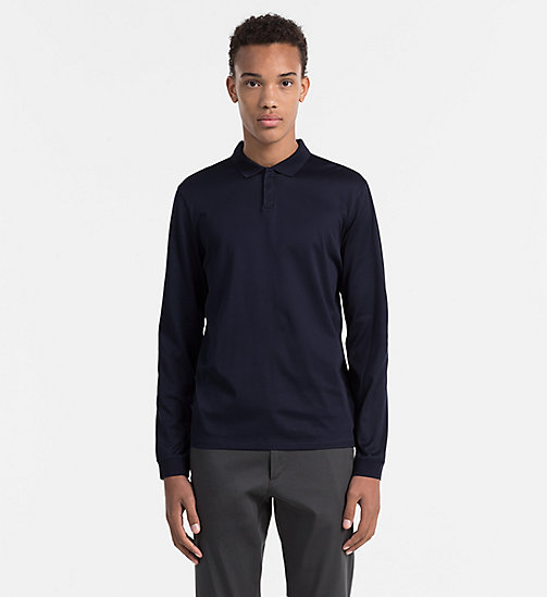 Fitted Longsleeve Polo - TRUE NAVY-PT - CALVIN KLEIN POLO SHIRTS - main image