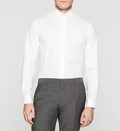 Fitted Microdot Shirt - WHITE - CALVIN KLEIN SHIRTS - main image