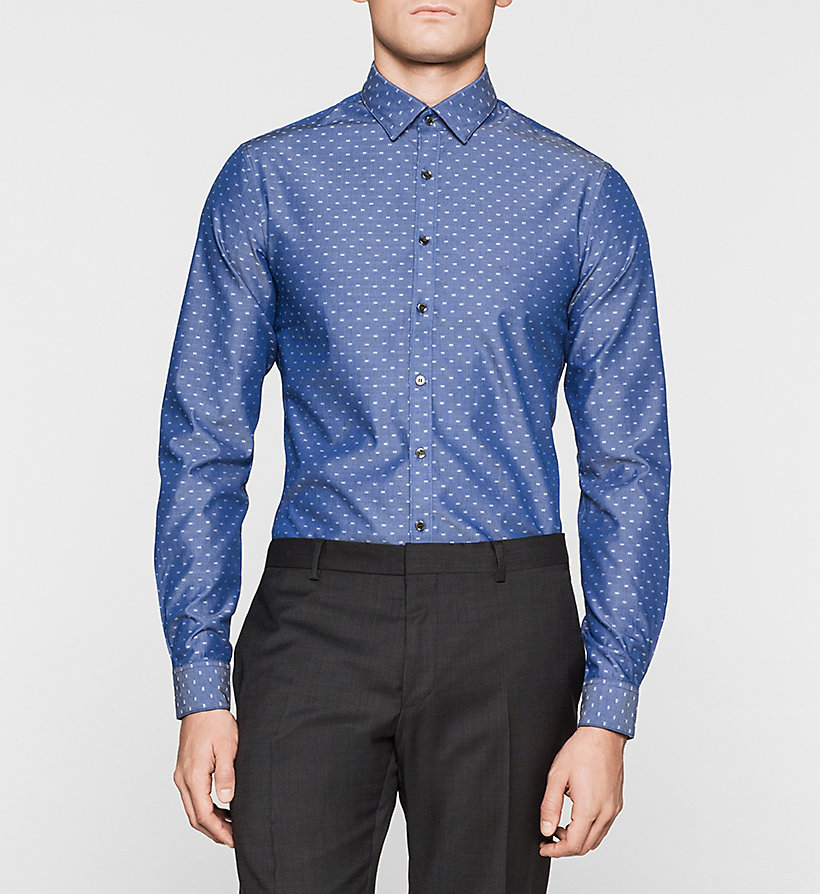 CALVINKLEIN Slim Dress Shirt - NAVY - CALVIN KLEIN SHIRTS - main image