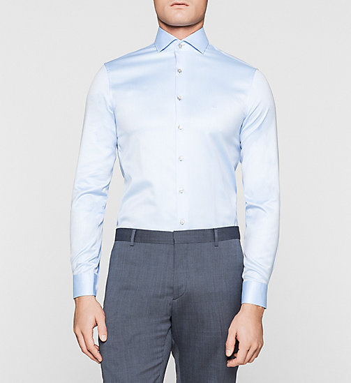 Fitted Dress Shirt - BLUE - CALVIN KLEIN SHIRTS - main image