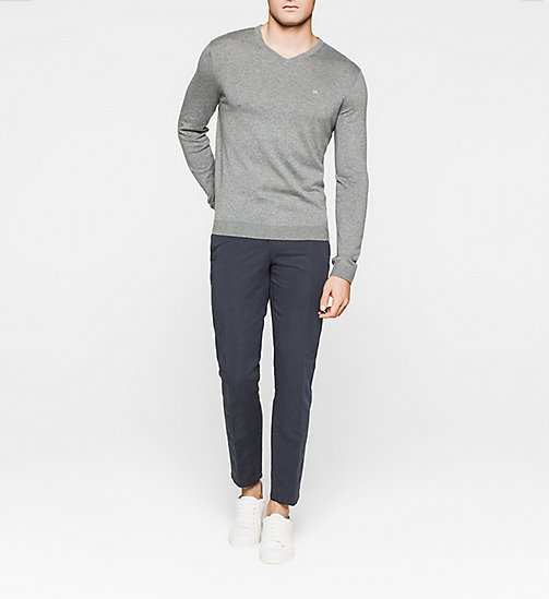 Silk-blend Sweater - GREY MELANGE - CALVIN KLEIN JUMPERS - detail image 1