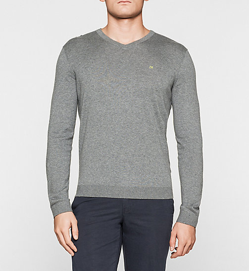 Silk-blend Sweater - GREY MELANGE - CALVIN KLEIN JUMPERS - main image