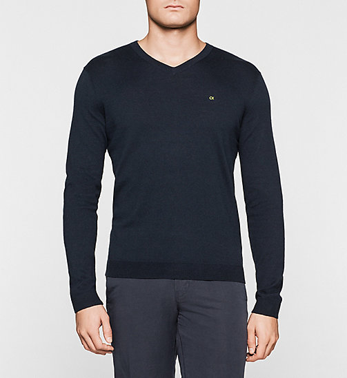 Silk-blend Sweater - NAVY - CALVIN KLEIN JUMPERS - main image