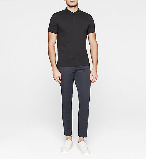 Fitted Pima Cotton Polo - BLACK - CALVIN KLEIN POLO SHIRTS - detail image 1