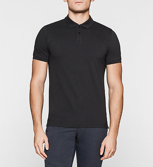 Fitted Pima Cotton Polo - BLACK - CALVIN KLEIN POLO SHIRTS - main image