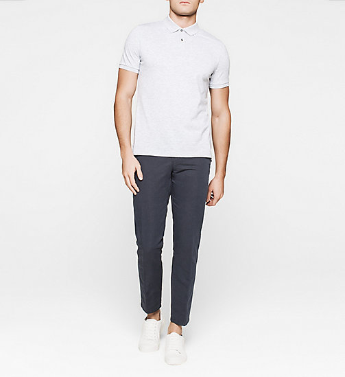 Fitted Pima Cotton Polo - GREY HEATHER - CALVIN KLEIN POLO SHIRTS - detail image 1