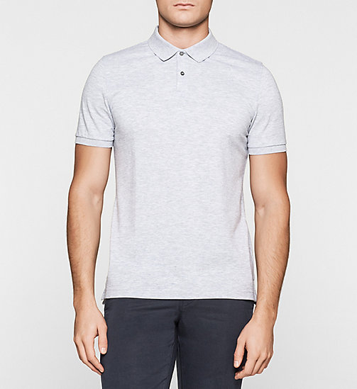 Fitted Pima Cotton Polo - GREY HEATHER - CALVIN KLEIN POLO SHIRTS - main image