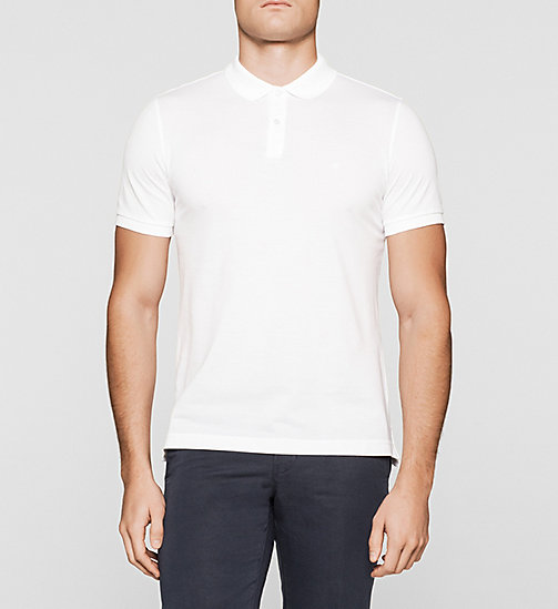Fitted Pima Cotton Polo - WHITE - CALVIN KLEIN POLO SHIRTS - main image