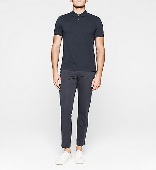 Fitted Pima Cotton Polo - NAVY - CALVIN KLEIN POLO SHIRTS - detail image 1