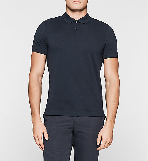 Fitted Pima Cotton Polo - NAVY - CALVIN KLEIN POLO SHIRTS - main image