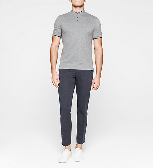 CALVINKLEIN Fitted Pima Cotton Polo - GREY MELANGE - CALVIN KLEIN  - detail image 1