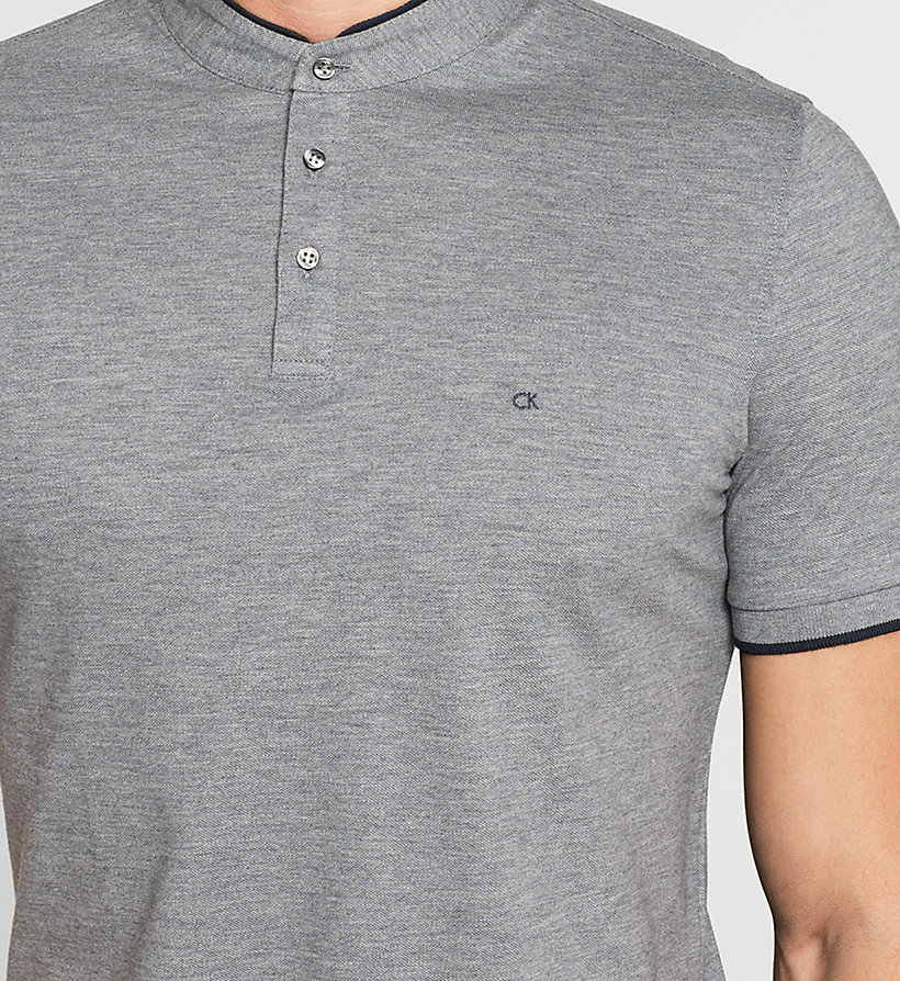 CALVINKLEIN Fitted Pima Cotton Polo - GREY MELANGE - CALVIN KLEIN POLO SHIRTS - detail image 2