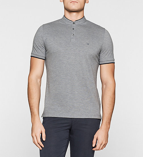 Fitted Pima Cotton Polo - GREY MELANGE - CALVIN KLEIN POLO SHIRTS - main image