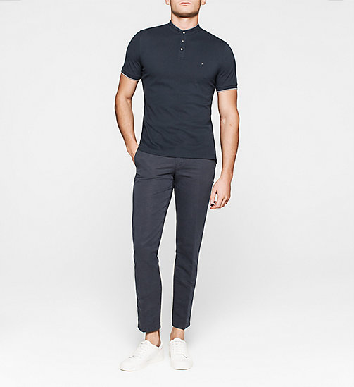 CKJEANS Fitted Pima Cotton Polo - NAVY - CALVIN KLEIN POLO SHIRTS - detail image 1