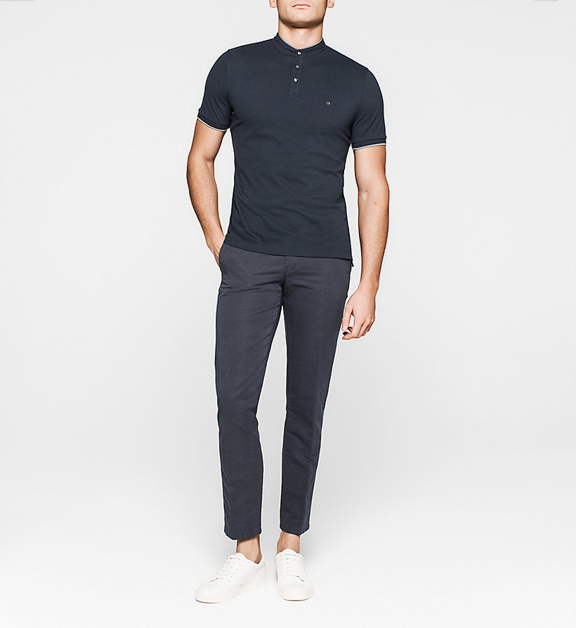 CALVINKLEIN Fitted Pima Cotton Polo - NAVY - CALVIN KLEIN POLO SHIRTS - detail image 1
