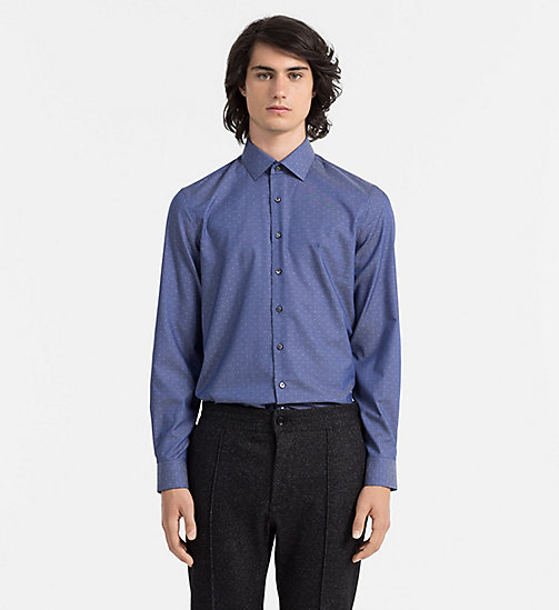 CALVINKLEIN Fitted Micro Dot Shirt - MEDIUM BLUE - CALVIN KLEIN FORMAL SHIRTS - main image