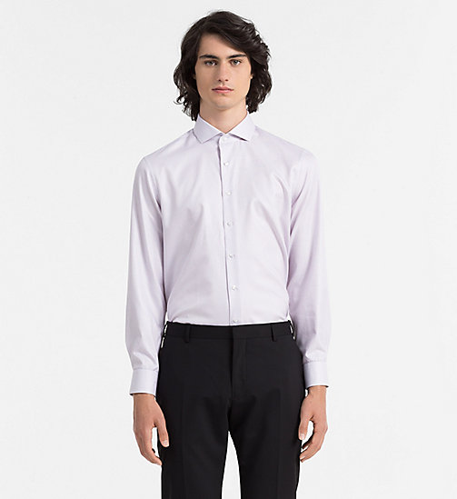 CALVINKLEIN Fitted Dress Shirt - MAHOGANY - CALVIN KLEIN  - main image