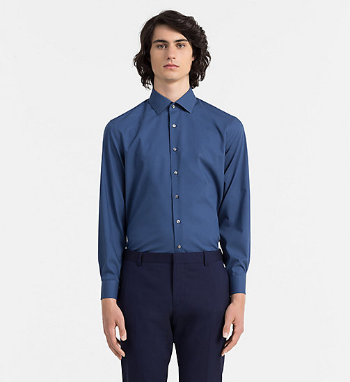 CALVIN KLEIN JEANS Fitted Poplin Stretch Dress Shirt - ENGLISH BLUE - CALVIN KLEIN CLOTHES - main image