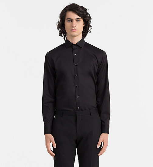 CALVINKLEIN Fitted Dress Shirt - BLACK - CALVIN KLEIN GIFTS FOR HIM - main image