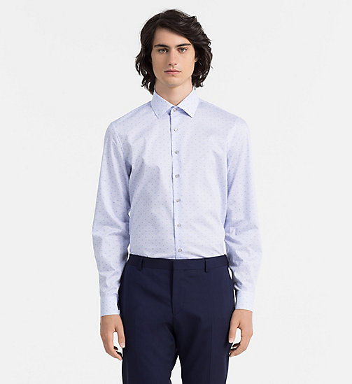 CALVINKLEIN Fitted Logo Dress Shirt - BLUE HAWAII - CALVIN KLEIN FORMAL SHIRTS - main image