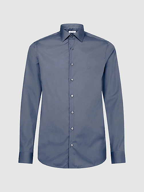 CALVINKLEIN Fitted Dress Shirt - CHARCOAL - CALVIN KLEIN FORMAL SHIRTS - main image