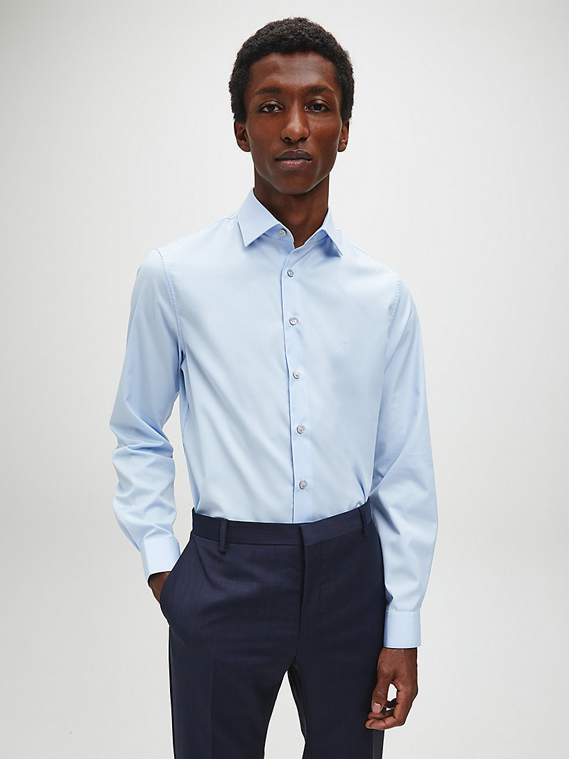 CALVINKLEIN Fitted Dress Shirt - SOFT BLUE - CALVIN KLEIN SHIRTS - detail image 2