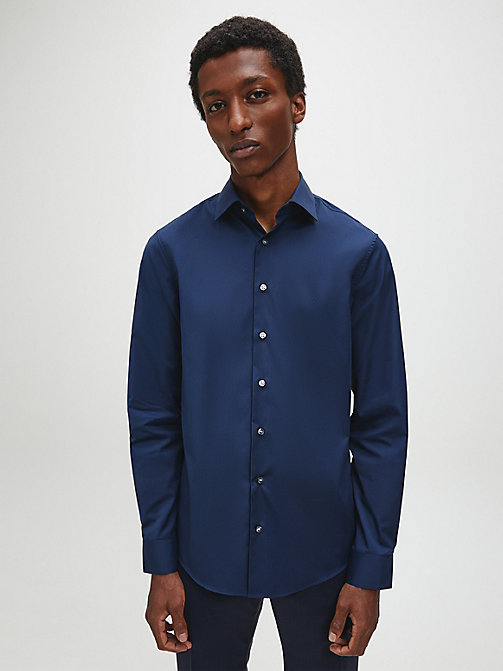 CALVINKLEIN Fitted Dress Shirt - MIDNIGHT BLUE - CALVIN KLEIN FORMAL SHIRTS - main image