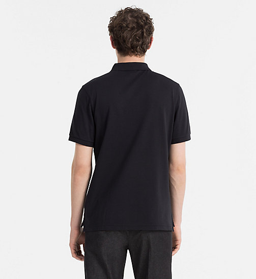 Fitted Cotton Piqué Polo - BLACK - CALVIN KLEIN POLO SHIRTS - detail image 1