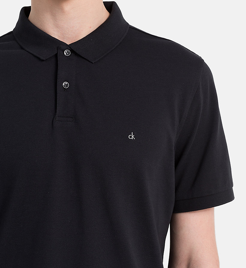 CALVINKLEIN Fitted Cotton Piqué Polo - BLACK - CALVIN KLEIN POLO SHIRTS - detail image 2