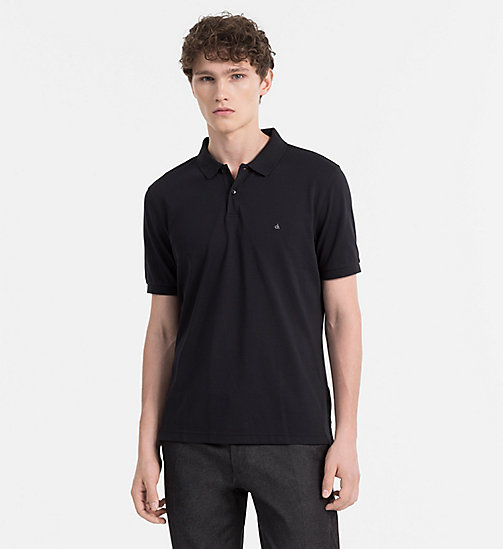 Fitted Cotton Piqué Polo - BLACK - CALVIN KLEIN POLO SHIRTS - main image
