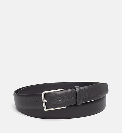 CALVINKLEIN Slim Saffiano Leather Belt - BLACK - CALVIN KLEIN BELTS - main image