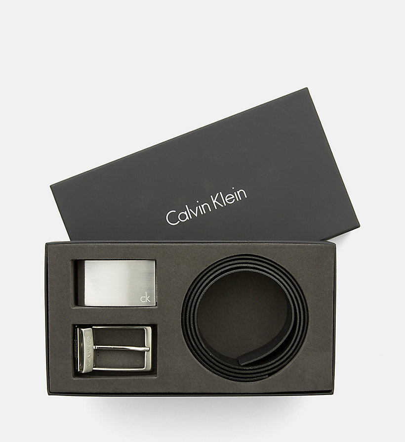 CALVINKLEIN Leather Belt in Gift Box - BLACK - CALVIN KLEIN SHOES & ACCESSORIES - main image