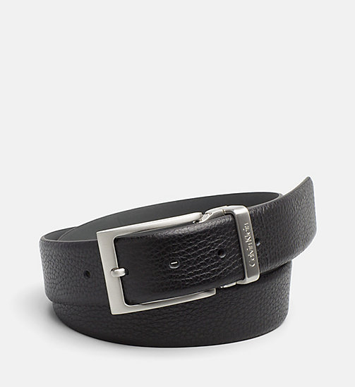 CALVINKLEIN Pebbled Leather Belt - BLACK - CALVIN KLEIN BELTS - main image