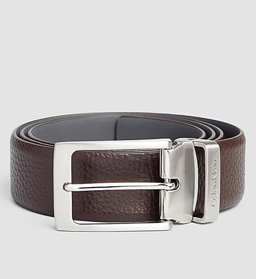 Pebbled Leather Belt - DARK BROWN - CALVIN KLEIN  - main image