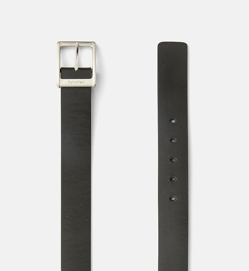 CALVIN KLEIN JEANS Leather Square Buckle Belt - BLACK - CALVIN KLEIN JEANS SHOES & ACCESSORIES - detail image 1