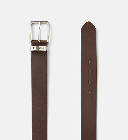 CALVIN KLEIN JEANS Leather Belt - DARK BROWN - CALVIN KLEIN JEANS GIFTS FOR HIM - detail image 1