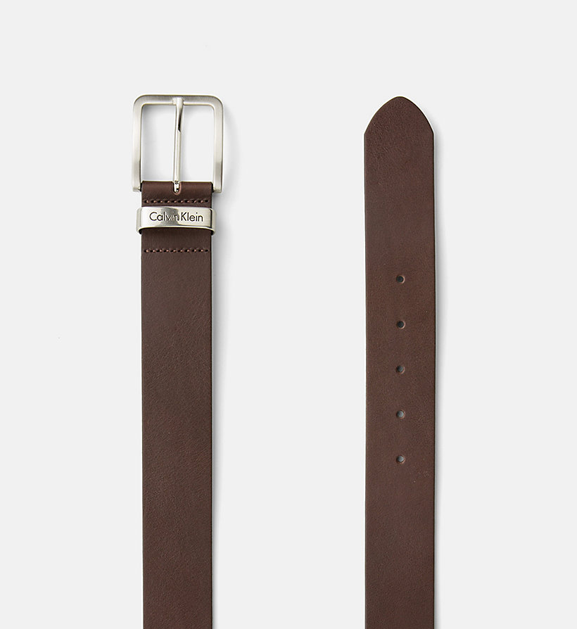 CALVIN KLEIN JEANS Leather Belt - DARK BROWN - CALVIN KLEIN JEANS SHOES & ACCESSORIES - detail image 1