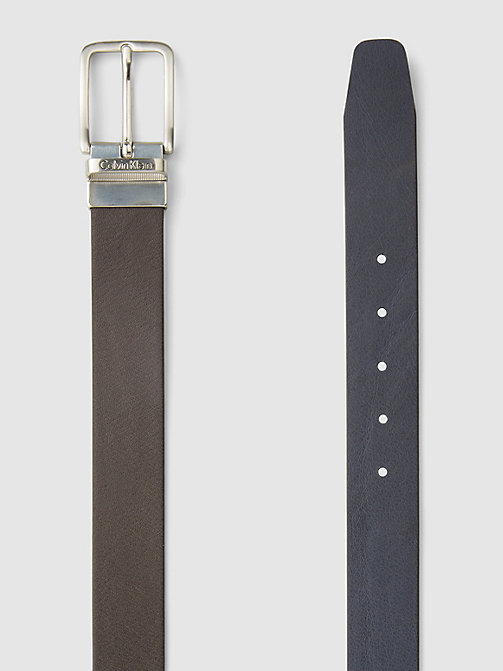CALVIN KLEIN JEANS Reversible Leather Belt - DARK BROWN/NAVY - CALVIN KLEIN JEANS BELTS - detail image 1