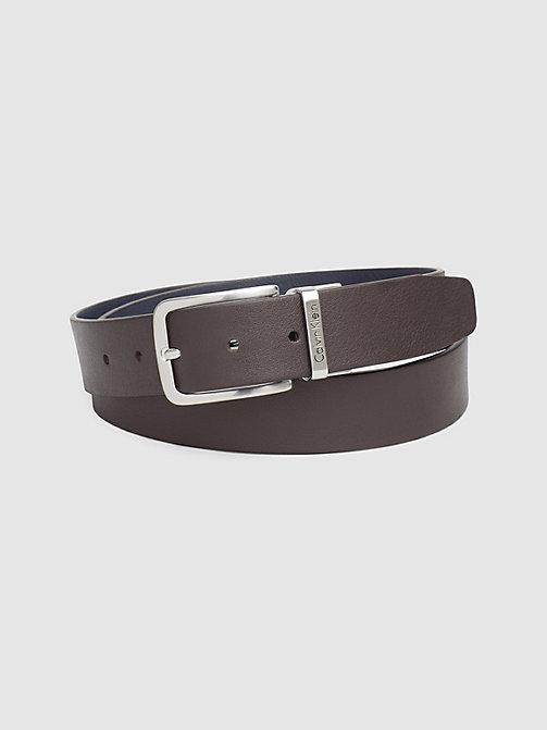 CALVIN KLEIN JEANS Reversible Leather Belt - DARK BROWN/NAVY - CALVIN KLEIN JEANS BELTS - main image
