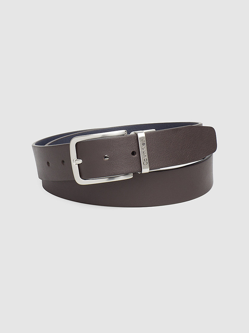 CALVIN KLEIN JEANS Reversible Leather Belt - DARK BROWN/NAVY - CALVIN KLEIN JEANS SHOES & ACCESSORIES - main image