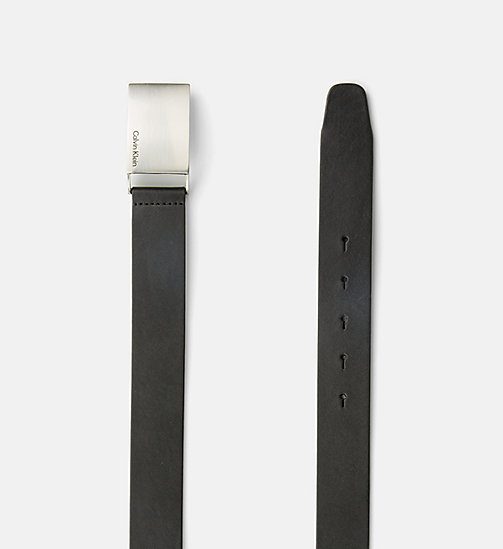 CKJEANS Leather Plaque Belt - BLACK - CK JEANS BELTS - detail image 1